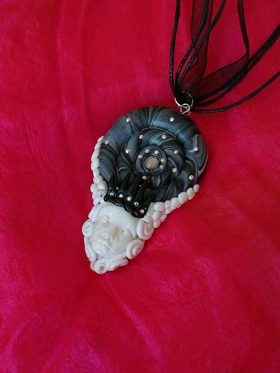 Lady Krakenshire polymer clay rhinestone pendant pagan fantasy