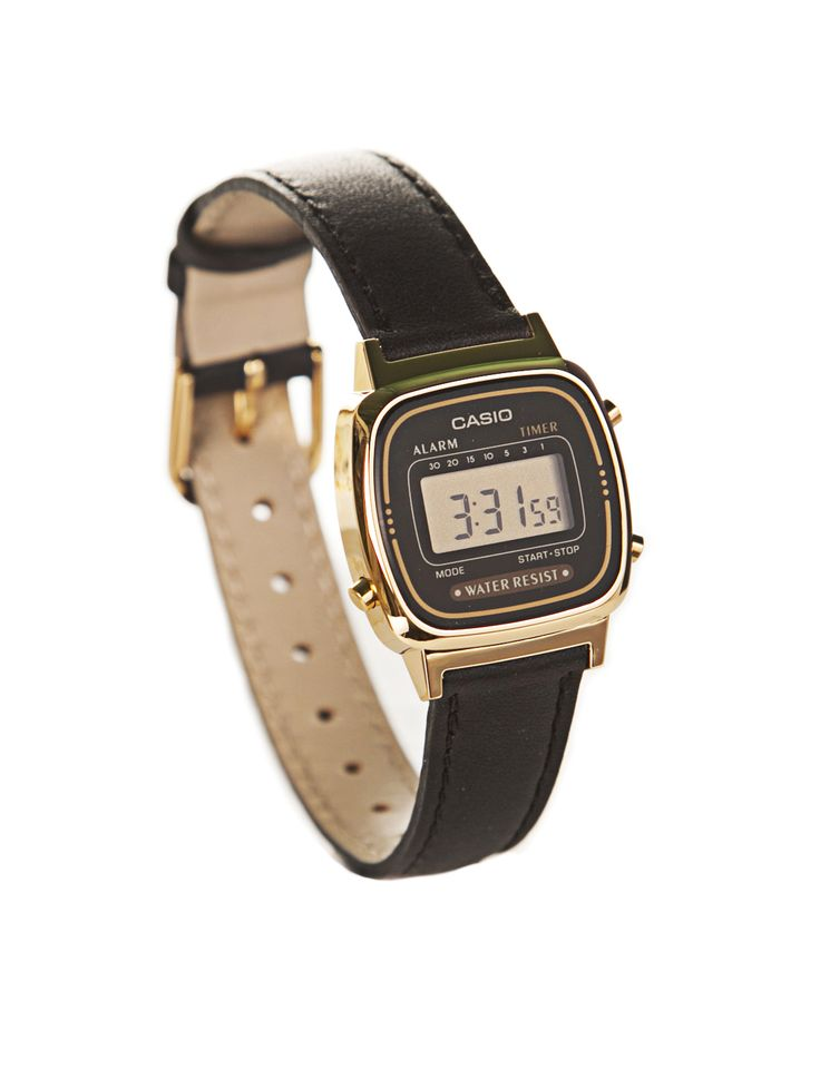Casio Digital Watch Black Leather Strap
