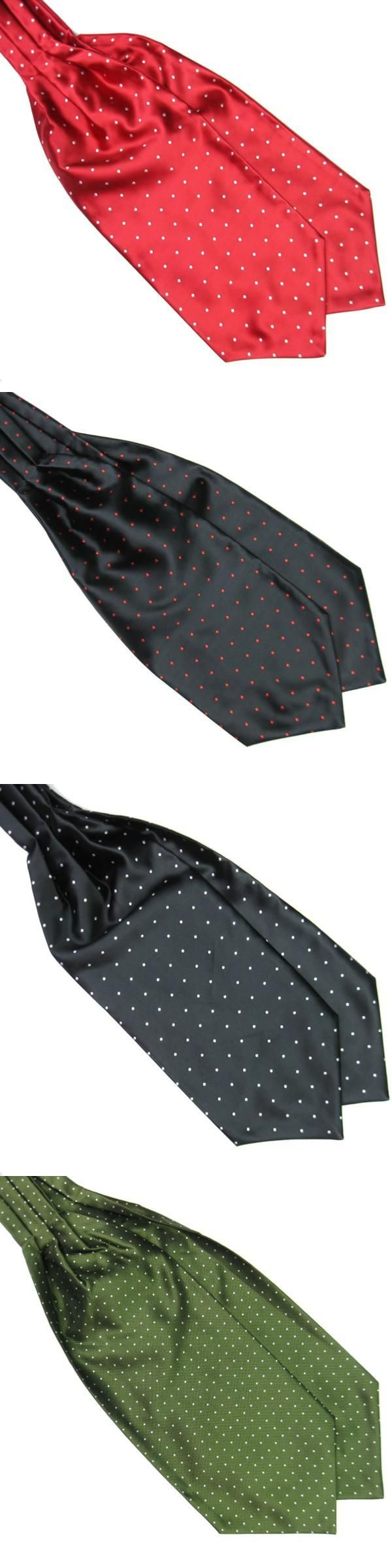 Men Long Silk Scarves Cravat Ascot Ties Multi-Colors Polka Dot Hand kerchief