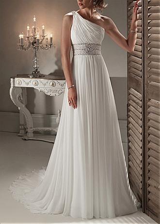 Elegant Exquisite Chiffon Sheath One Shoulder Wedding Dress