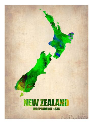 New Zealand Watercolor Map Prints by NaxArt at AllPosters.com