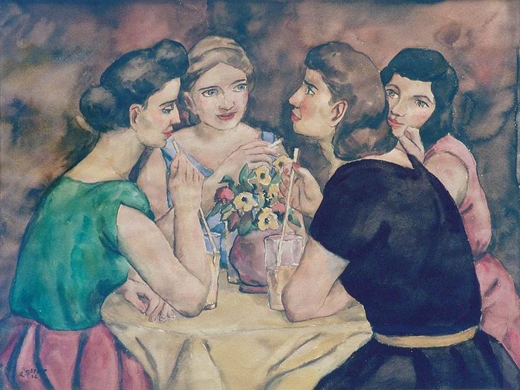 """Hoy es viernes del recuerdo en la @reposteriaastor """"Acuarela de Rafael Sáenz, 1956 Titulada En el Astor."""""""
