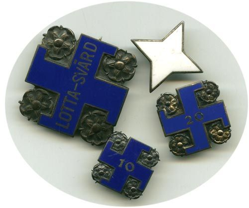 Various badges for Lotta Svärd, Finnish women's voluntary defense organisation. The blue swastika was used as a symbol of Finland by both Lotta Svärd the Finnish airforce and the Finnish state, first used as such by the artist Akseli Gallen-Kallela, who designed the national heraldic symbol of Finland as a free nation in 1917, using the blue swastika. It was removed after the symbol had become too associated with Nazi Germany during WWII. Lotta Svärd was banned by the Soviet Union in 1944.