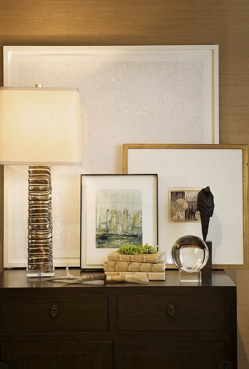 Haus Design great vignette with varied textures and stacked art, love this look