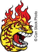 Fast Pitch Softball Face with Flaming Hair Vector Image