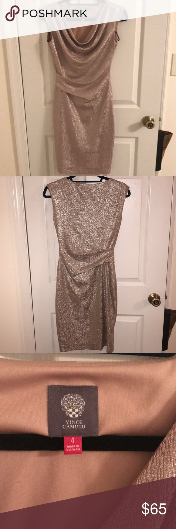 Vince Camuto silver dress in size 4 Silver Vince Camuto dress in size 4. Perfect cocktail dress or wedding guest dress. Flattering ruching design. Smoke free, Pet Free home. Feel free to make an offer. Vince Camuto Dresses