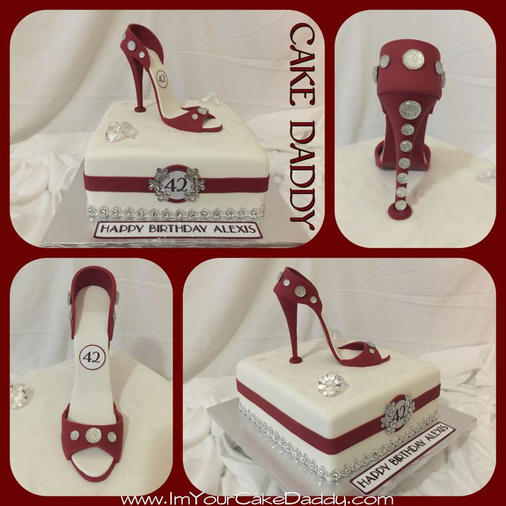 Crimson and white stiletto shoe birthday cake. | Stiletto Shoe ...