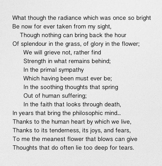 "From ""Ode: Intimations of Immortality from Recollections of Early Childhood"" by William Wordsworth."