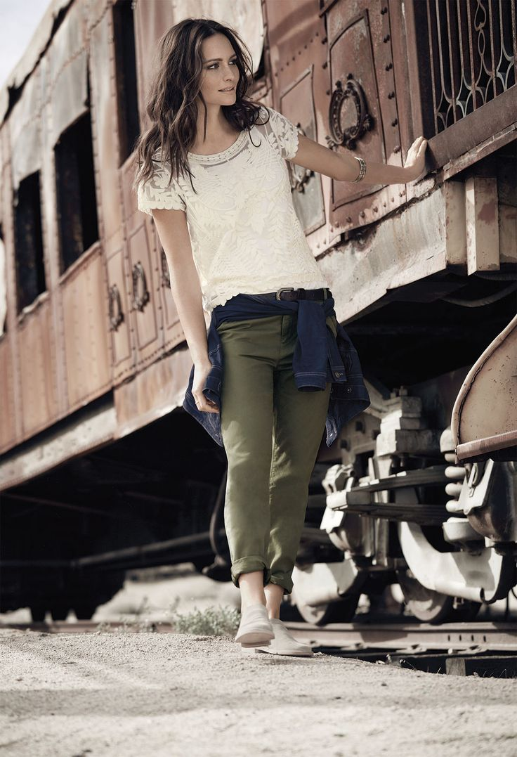 Delicate lace and lived-in chinos capture your romantic-yet-rebellious side.