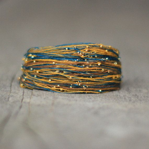 Yellow Teal Bracelet Magnetic Bracelet Fibre by Naryajewelry
