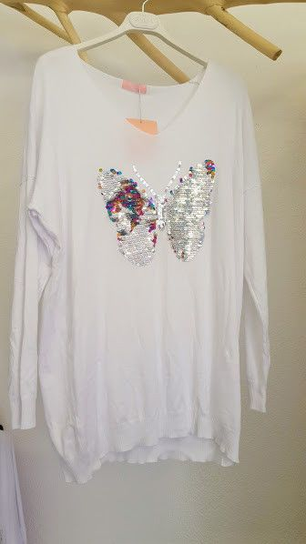 Strickpulli mit Pailletten und Schmetterling Motiv Wisch Pailletten #fashion #style #love #sale #pullover