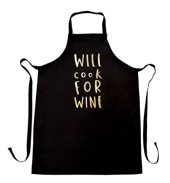 This fun Will Cook For Wine apron makes a fantastic kitchen gift.    This simple, stylish and bold kitchen wine apron has been lovingly illustrated