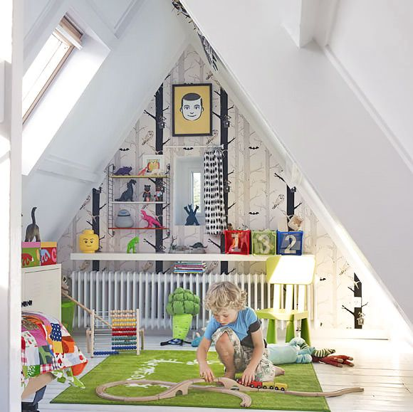 Kid's Room Attic/Loft Space so cute. consider fun ideas for attic craft space too. -jl