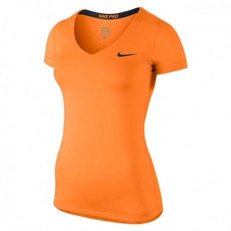 Nike Pro SS V-neck shirt dames oranje/zwart
