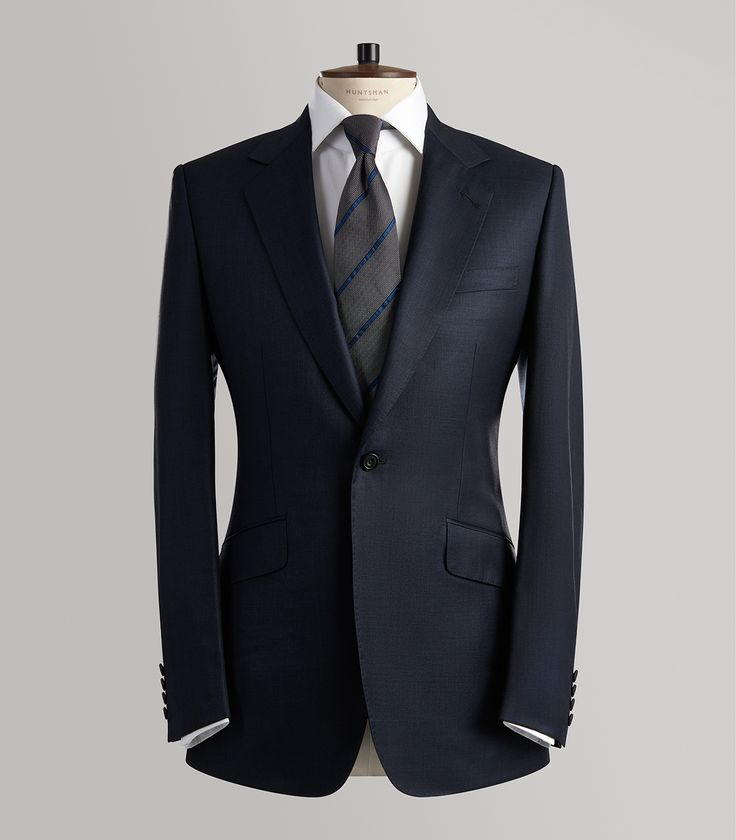 Navy Sharkskin Single Breasted Suit - Huntsman