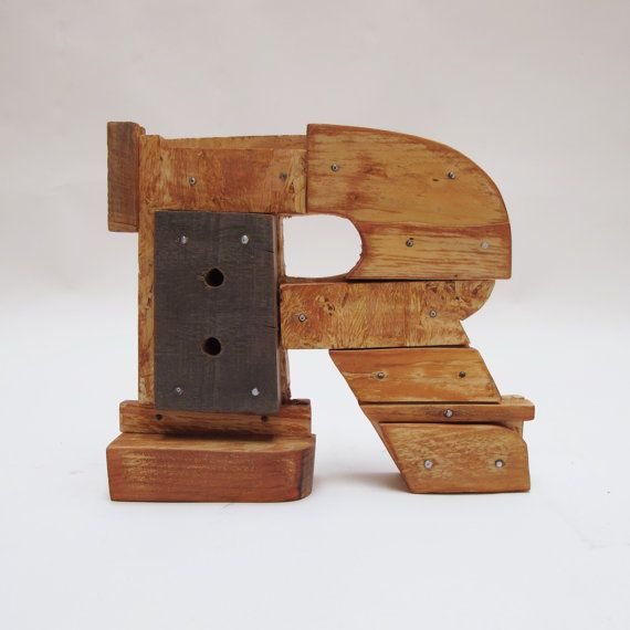 Wooden letters R. Industrial letters. Wall hanging by PETULAPLAS