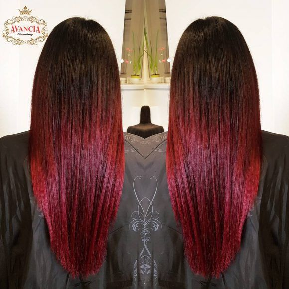 Dark Brown To Red Ombre In 2020 Red Highlights In Brown Hair Hair Highlights Red Brown Hair