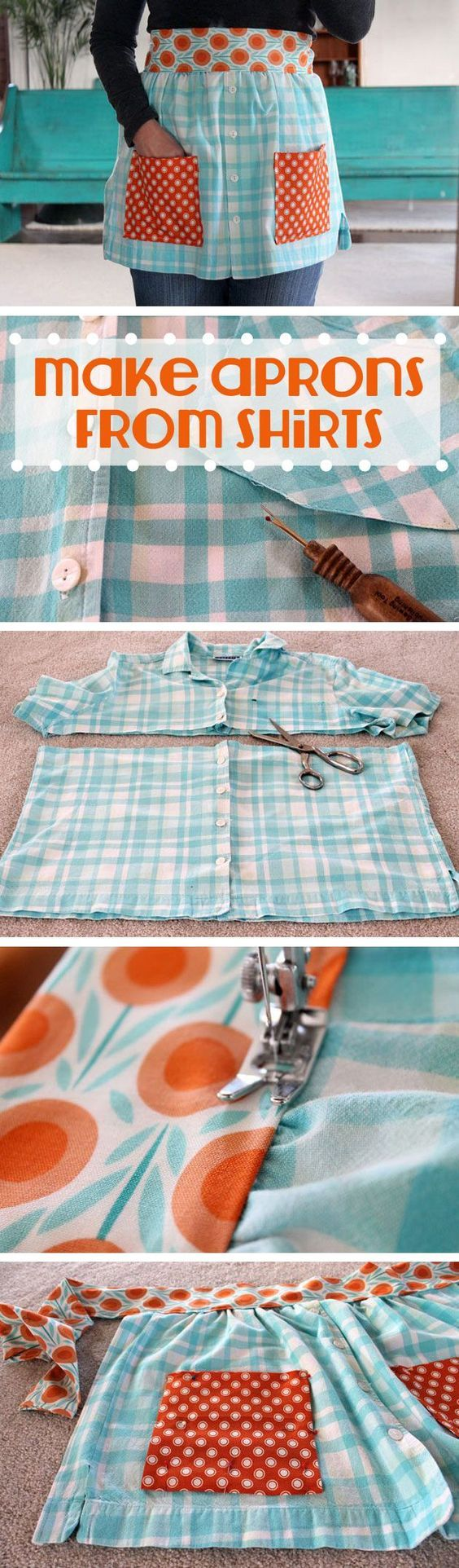 Make an adorable apron from old t-shirts! Beth Huntington has the best ideas for transforming old shirts and things into new, fashion-forward wearable items. This is great for beginner sewers or experienced ones!: