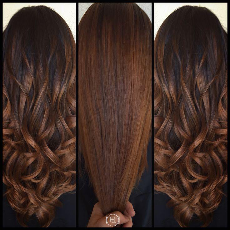 Balayage, cinnamon color , long hair . Hair by:Emilio V. @Hairlegacy Inc.