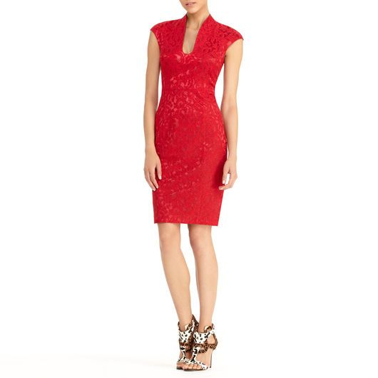 Bonded lace cap sleeve dress offers a fitted silhouette, features U neckline #Red