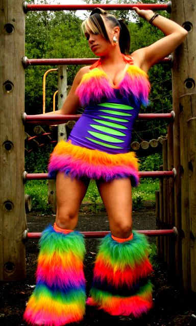 Designer cyber uv fluffy trim clubbing dress by top designers FB slash purple detail dress and UV green underlay long pile rainbow faux fur bra top