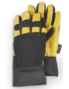a large thinsulate 40gr goatskin leather work gloves water resist spandex kevlar