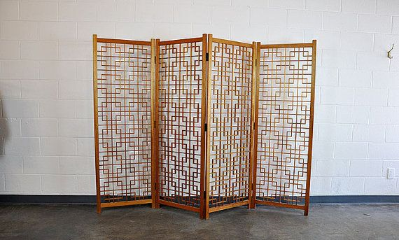 Mid Century Screen / Vintage Mid Century Geometric Teak Room Divider Screen 4 Panels  Good Condition  Measures Approx: Each Panel - 23 3/4 x 69 Tall