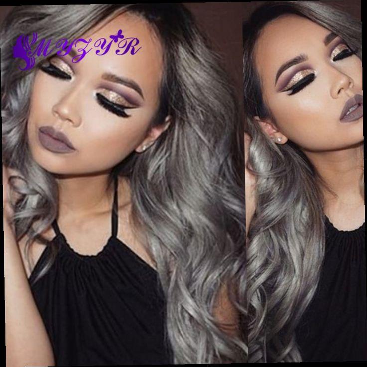 170.39$  Buy here - http://aligym.worldwells.pw/go.php?t=32789336504 - 1B/Grey Ombre Human Hair Bundles 3Pcs Brazilian Virgin Hair Human Hair Extensions Grey Ombre