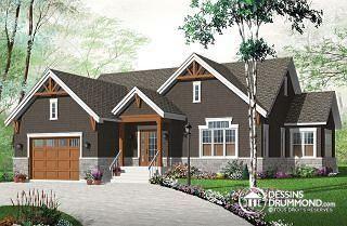 Sylvestre 4 Maison style Craftsman, espace ouvert, grand îlot, foyer central, suite des maîtres, garage double  - W3260-V3