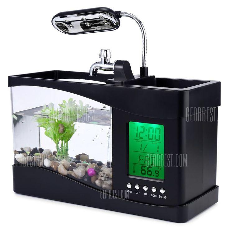 El diseño creativo, multi-funciones, y la calidad confiable  ● El agua almacenada en el tanque de peces se pueden ejecutar de forma circular que el aire fresco se puede proporcionar a los peces que viven en la pecera  ● contener cerca de 1,3 l de agua  ● Baterías: 3 x AA pilas (no incluidas) para LCD  ● alimentación: DC 5V para la bomba y la iluminación de la pecera  ● LED de luz: 6 LEDs blancos y 2 LED que cambian de color  https://www.facebook.com/topventasgadgets/