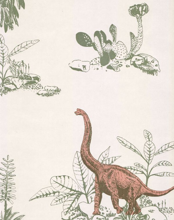 Dino Wallpaper-Pink Green - Sian Zeng — Sian Zeng This wallpaper looks very contemporary and digital which I like. It reminds me of children's book illustration as the use of scale is not realistic but very playful.