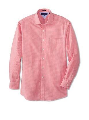 62% OFF Tommy Hilfiger Men's Regular Fit Gingham Spread Collar Dress Shirt (Red)
