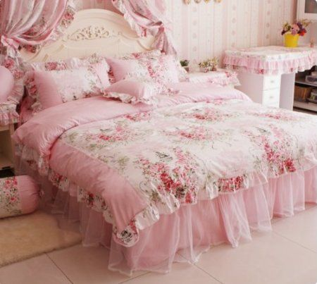 Amazon.com: DIAIDI Home Textile,Romantic Rose Print Bedding Sets,Blue Pink Bedding Sets,Princess Lace Ruffle Bedding Set,Twin/Full/Queen/King Bedroom Set,4Pcs Bed Set (Pink, 4ft bed): Home & Kitchen