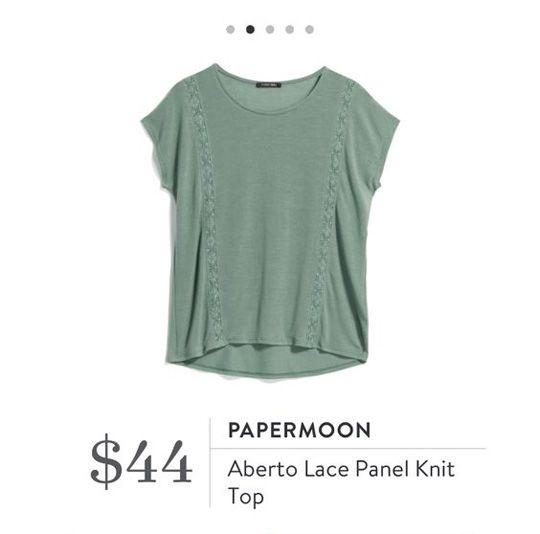 Stitch Fix: Papermoon Aberto Lace Panel Knit Top $44 - Style cute, prob need