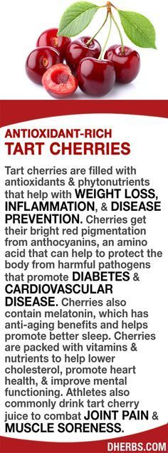 Tart cherries have antioxidants & phytonutrients that help with WEIGHT LOSS, INFLAMMATION, & DISEASE PREVENTION. Their red color is from anthocyanins, an amino acid that helps to protect the body from DIABETES & CARDIOVASCULAR DISEASE. Cherries also cont