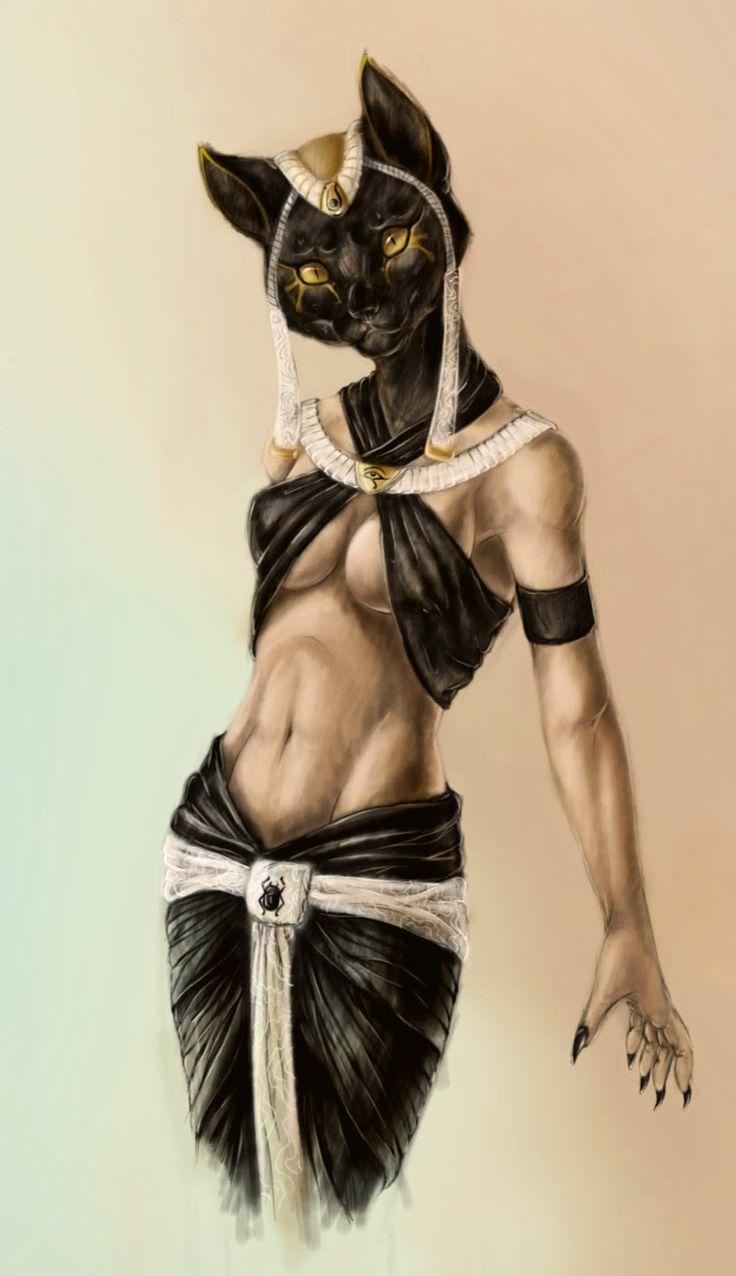 Bastet es una de las Divinidades más antiguas del panteón egipcio, Hija del mismísimo Ra, el Dios Sol, pasó de ser una Divinidad cruel (Divinidad Leona) a ser la Divinidad del fuego, los gatos/las gatas (sagrados en todo Egipto), protectora de los hogares y las embarazadas, entre otras cosas...Según la Mitología, sorprende el que sea la personificación del Alma de la mismísima Divinidad Todopoderosa Isis.