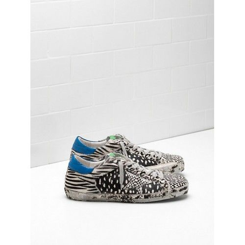 Golden Goose Super Star Sneakers Soldes - 2017 Golden Goose GGDB Super Star Homme Sneakers Noir Blanc Bleu Vert