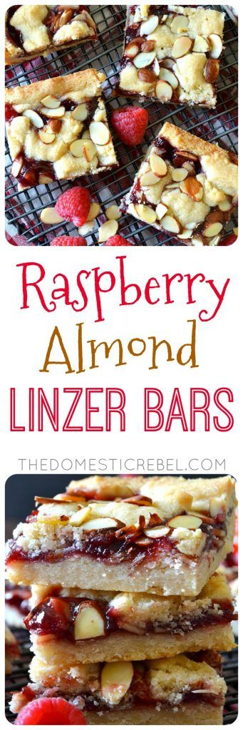 These Raspberry Almond Linzer Shortbread Bars combine all the flavors of classic Linzer cookies into unique bars! Sweet almond, juicy raspberry jam and buttery shortbread dough come together in this easy, impressive dessert!