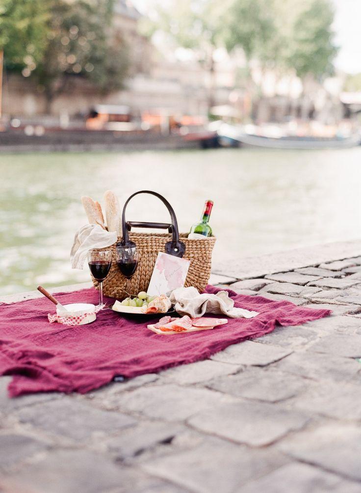 Engagement Paris Anniversary Session Pre Wedding Louboutin Black Dress  Picnic chic wine french baguette