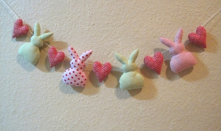 Rabbit and Heart Garland - by omasigi, DaWanda