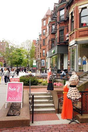 Shopping in Newbury Street, Boston - A comfy, confident shoe like the Lady would work for a long day of shopping.