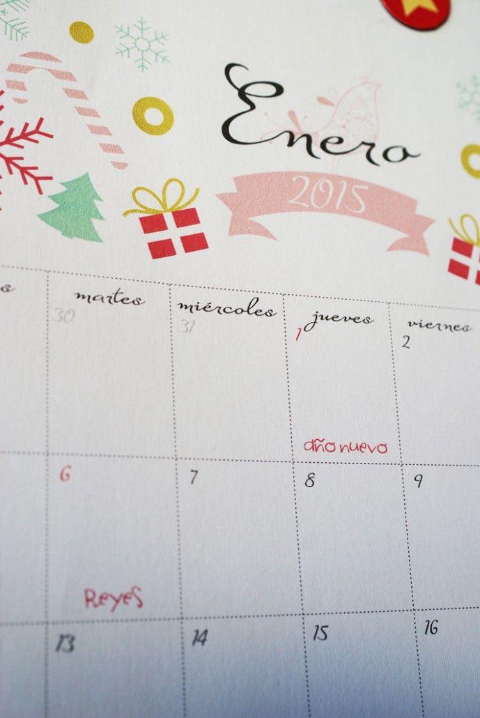 Calendario 2015 para imprimir, diseñado con cariño por Mona Monina. Imprimible gratuito que puedes descargar y compartir.