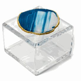 Luxury Lucite Gift Box * Gold Edged Blue Agate Handle * 4 x 4 x 3 inches * Custom Made To Order * Min Order 10 Units