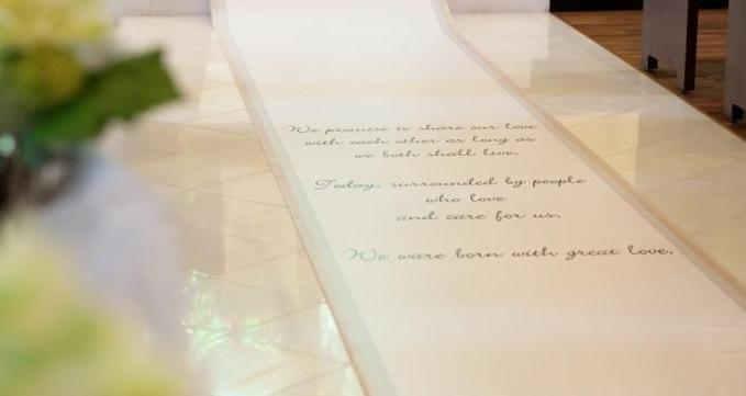 【福岡県久留米市 ホテルニュープラザKURUME・ウェディング】アイルランナー・誓いの言葉や写真をのせて