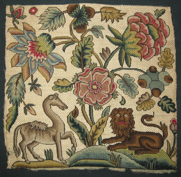 Needlework | An English needlework picture, about 17th century,. Poor horse, he's had a bit of a change in shape
