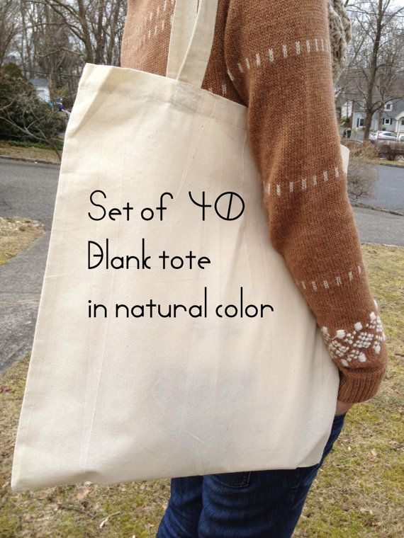40 BLANK natural color tote bags 100 cotton by sunlightafter5, $100.00