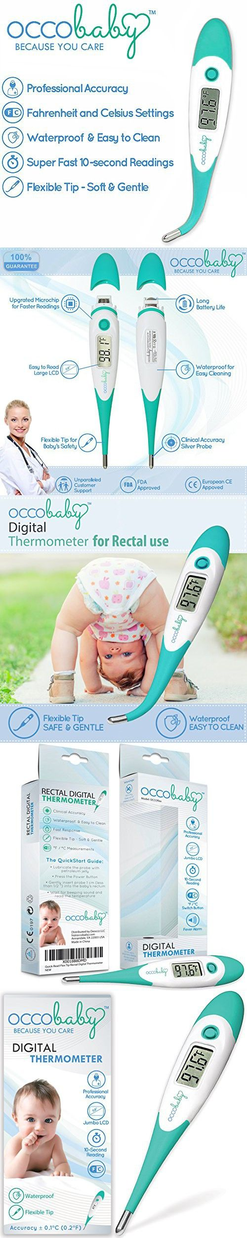 OCCObaby Clinical Digital Baby Thermometer - Flexible Tip and 10 Second Fever Read by Rectal & Oral | 2017 Edition | Waterproof FDA Approved Medical Thermometer for Infants & Toddlers