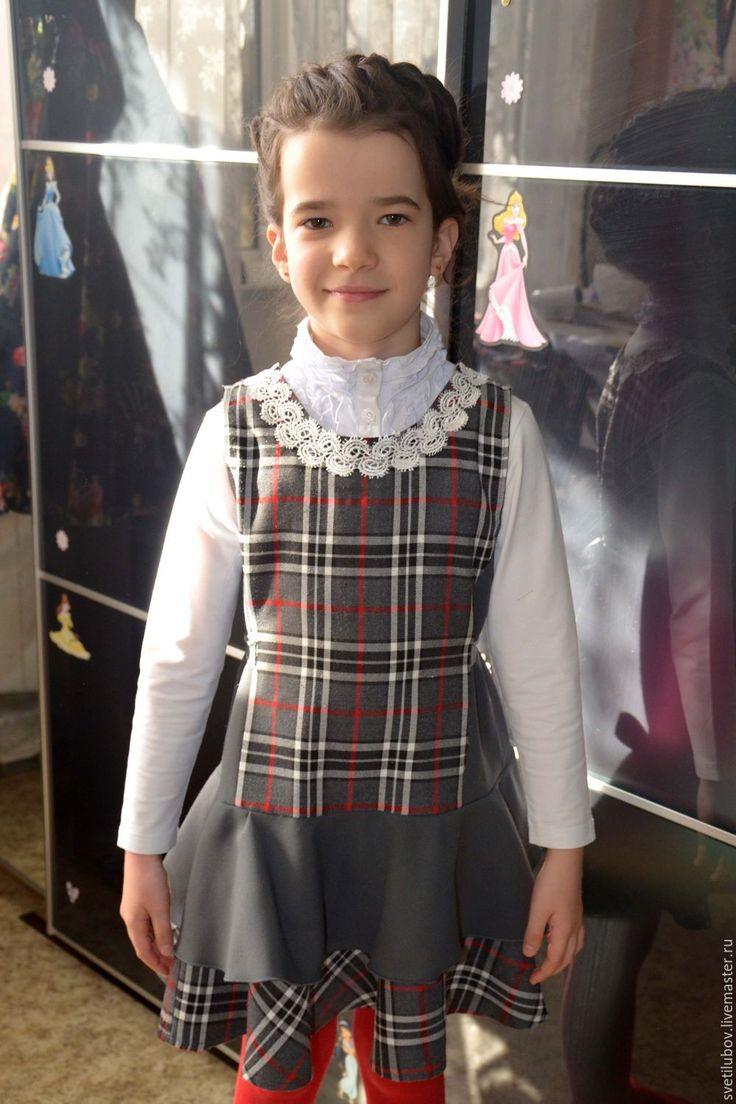 Купить Школьная одежда, сарафан - серый, в клеточку, школьная одежда, школьная жилетка, жилетка