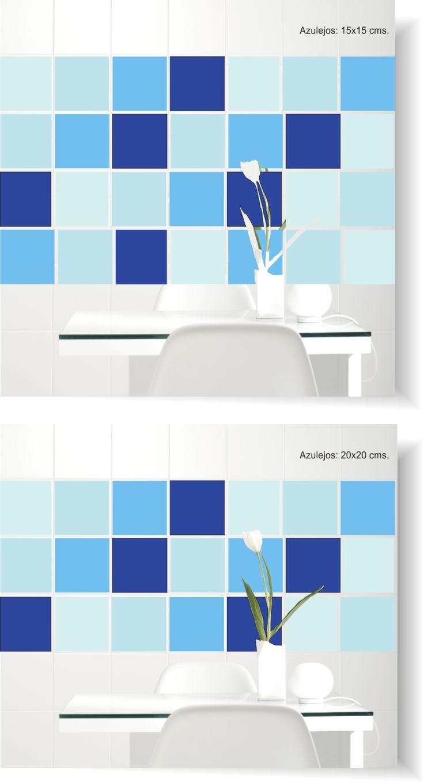 Vinilo azulejos pared con una composición de colores.
