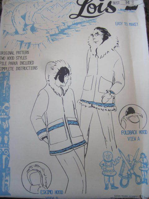 See Sally Sew-Patterns For Less - Ladies Winter Parka w/ 2 Hoods Alaskan Patterns by Lois Parka Lady's Aboriginal Pattern Sz. 14  , $22.00 (http://stores.seesallysew.com/ladies-winter-parka-w-2-hoods-alaskan-patterns-by-lois-parka-ladys-aboriginal-pattern-sz-14/)